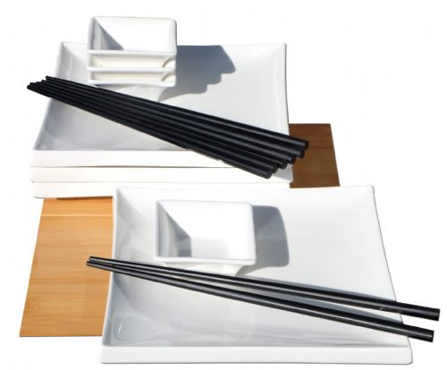 Japanese style Square white ceramic sushi set  for 4